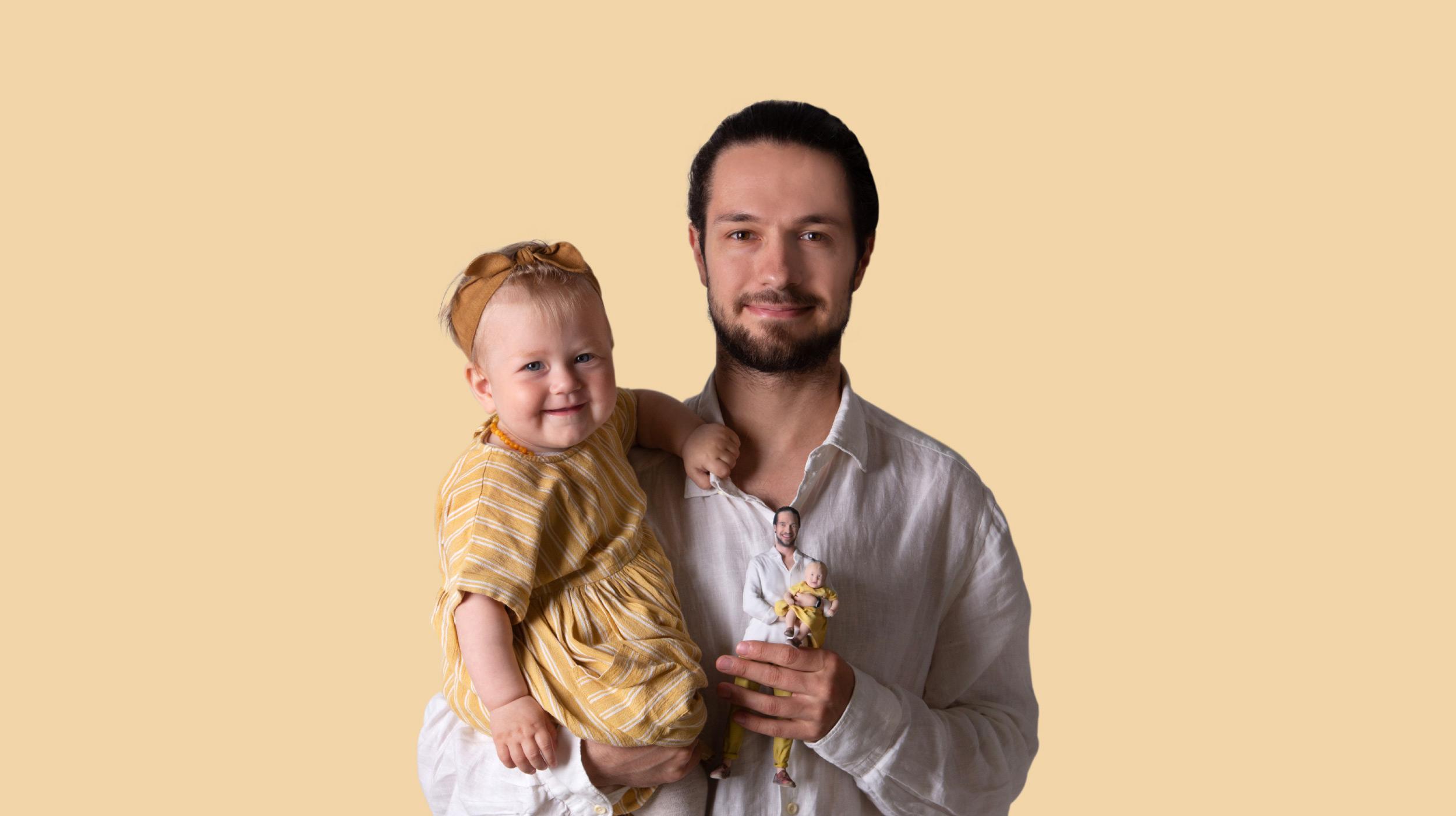 Vater mit Kind in 3D