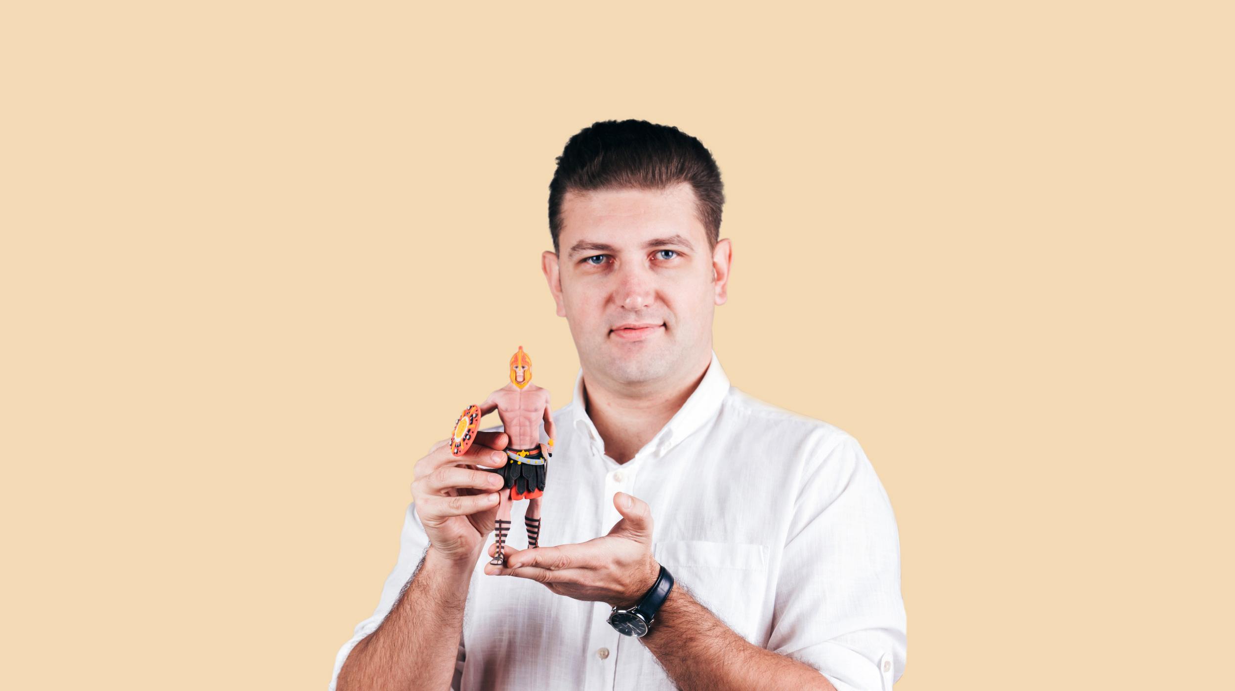 Mann mit 3D-Charakter