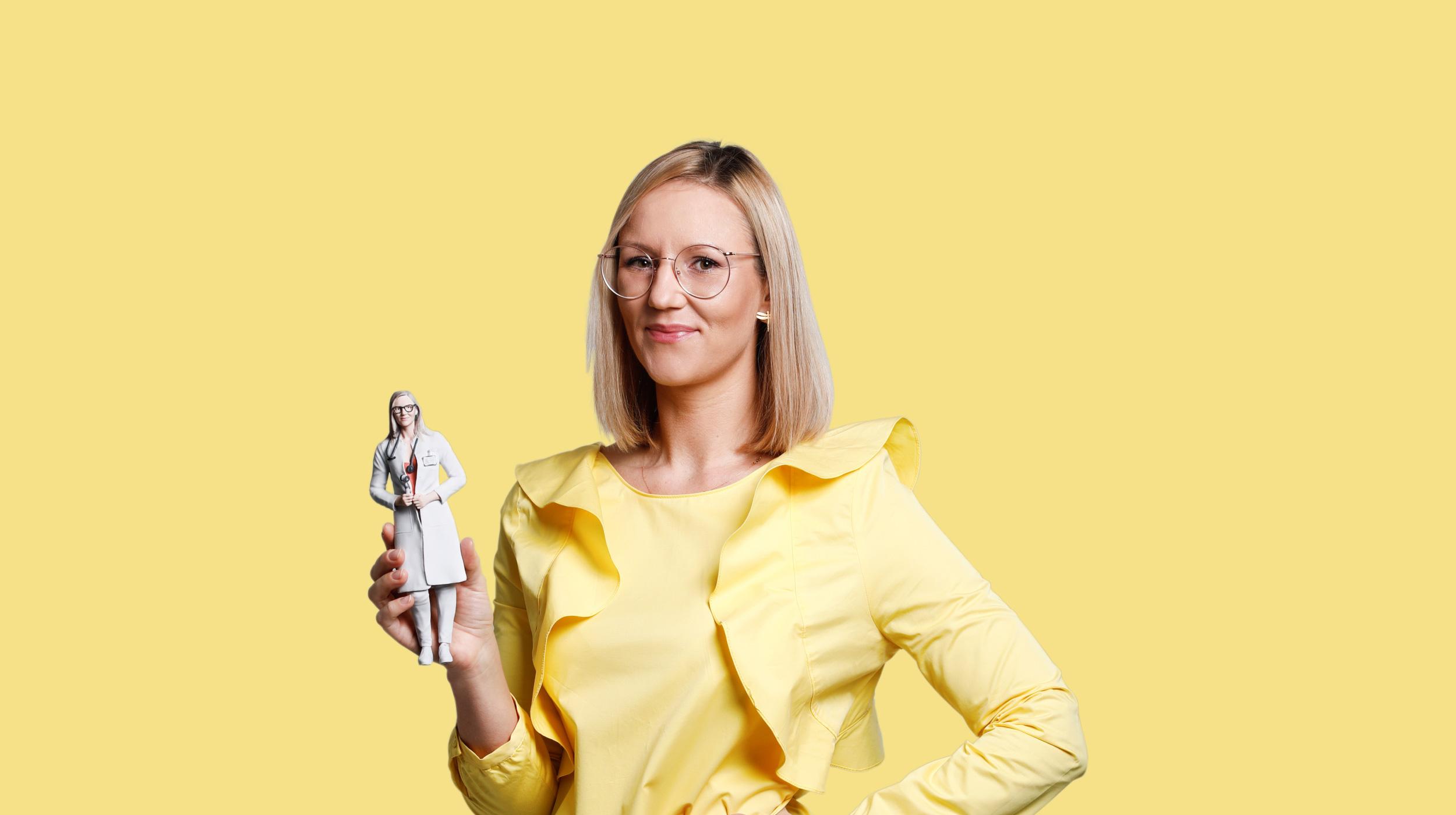 3D-Figur einer Frau in einem Gewand